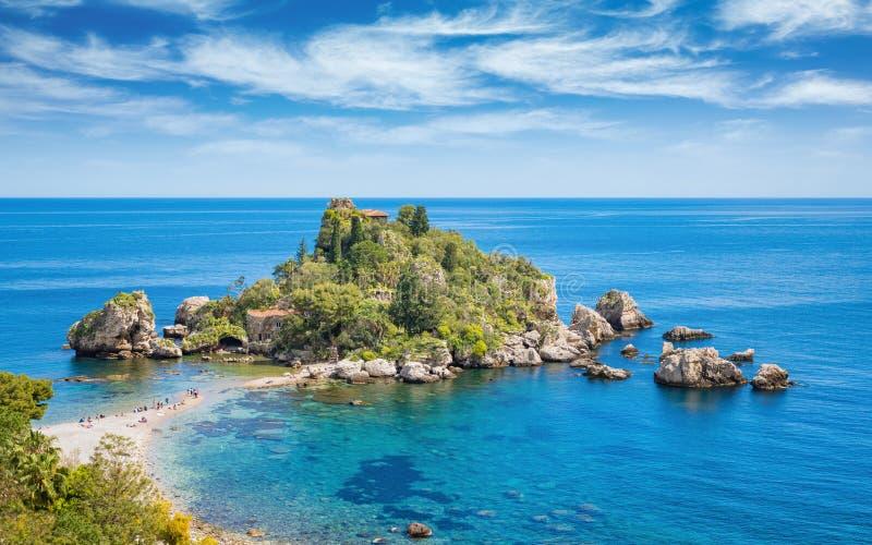 Mooie Isola Bella, klein eiland dichtbij Taormina, Sicilië, Italië royalty-vrije stock fotografie