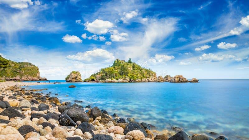 Mooie Isola Bella, klein eiland dichtbij Taormina, Sicilië, Italië stock fotografie