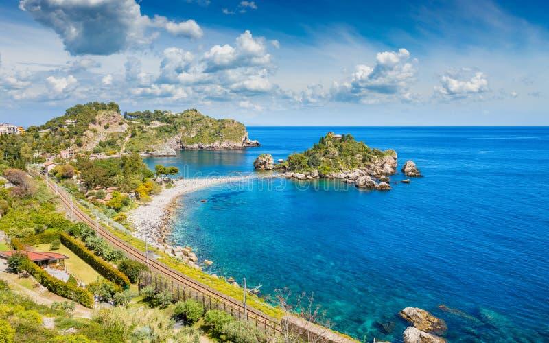 Mooie Isola Bella, klein eiland dichtbij Taormina, Sicilië, Italië royalty-vrije stock foto