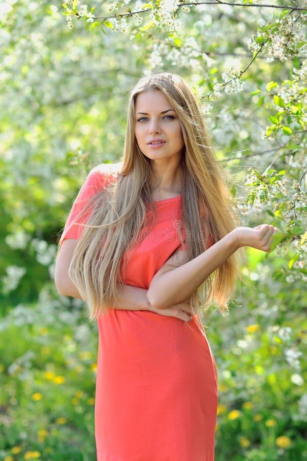 Mooie jonge blondevrouw in de lente op een warme zonnige dag stock foto's
