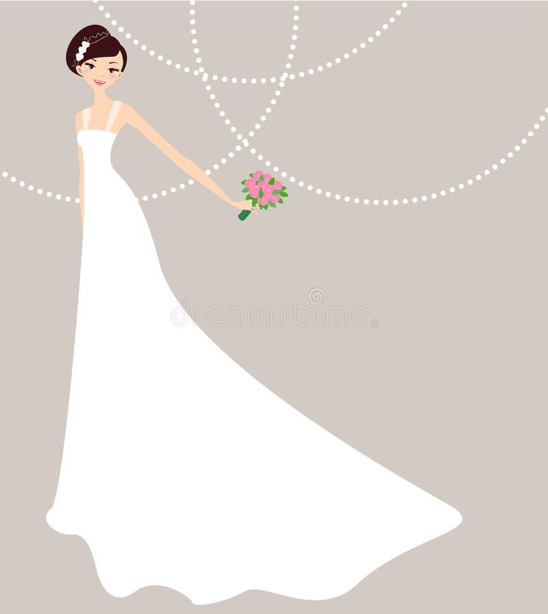 Mooie jonge bruid stock illustratie