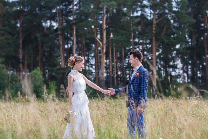 Mooie jonge bruid en bruidegom royalty-vrije stock fotografie