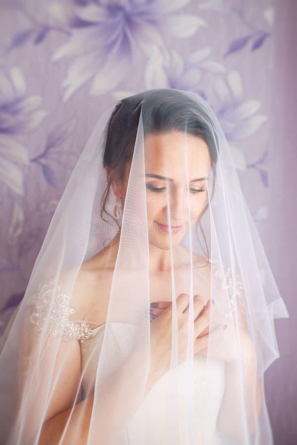 Mooie jonge bruid met huwelijksmake-up en kapsel in slaapkamer Mooi bruidportret met sluier over haar gezicht close-up royalty-vrije stock foto's
