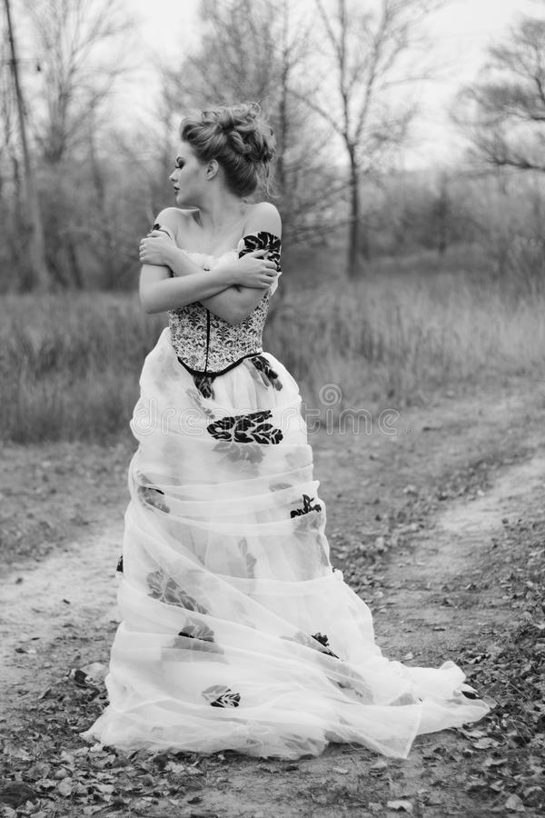 Mooie jonge dame in schitterende uitstekende kleding in het bos stock fotografie