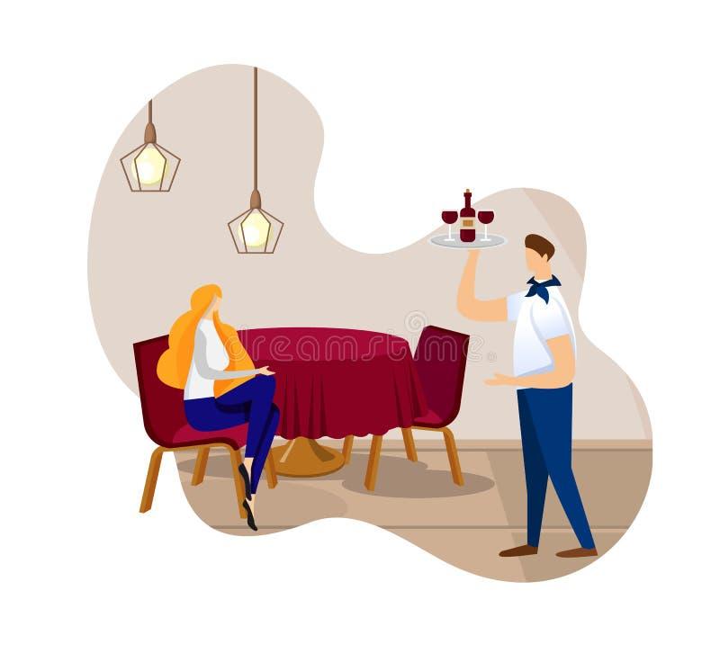 Mooie Jonge Dame Sitting Alone in Restaurant royalty-vrije illustratie