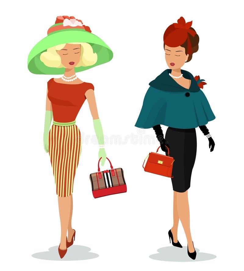 Mooie jonge dames in manierkleren Gedetailleerde grafische vrouwenkarakters met accessoties Kleurrijke modieuze meisjes met zakke royalty-vrije illustratie