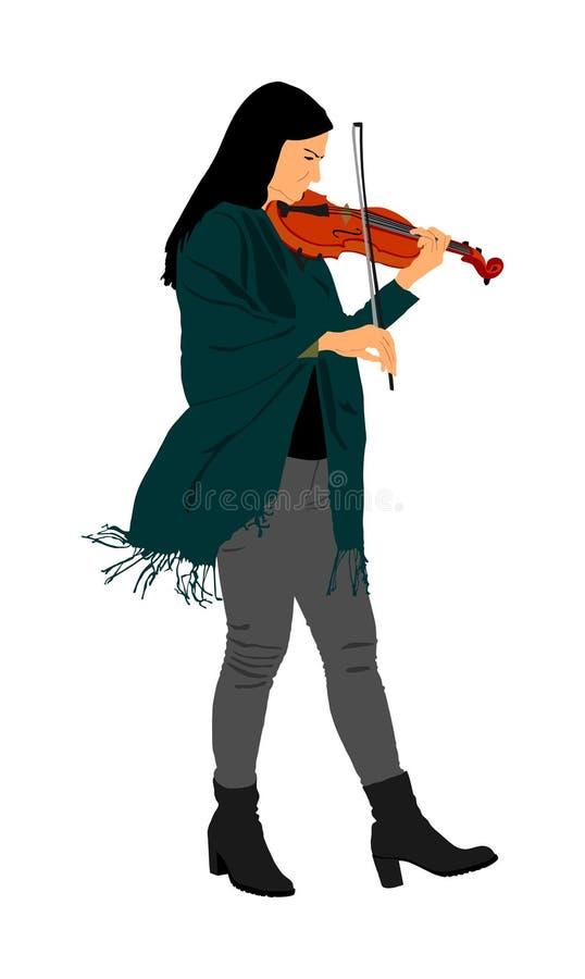 Mooie jonge die vrouw het spelen viool, op witte achtergrond wordt geïsoleerd De uitvoerder van de vioolkunstenaar royalty-vrije illustratie