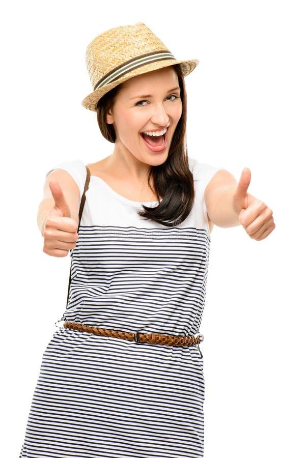 Mooie jonge die vrouwen hipster duimen omhoog op witte backgr worden geïsoleerd royalty-vrije stock afbeelding