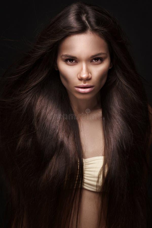 Mooie jonge donkerbruine vrouw met lang recht haar stock afbeeldingen
