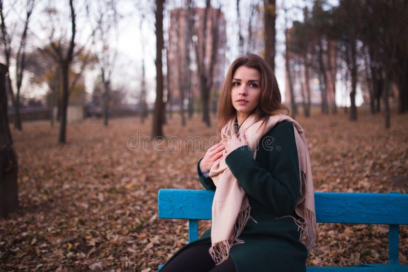 Mooie jonge donkerbruine vrouwenzitting op een bank in de herfstpark stock afbeelding