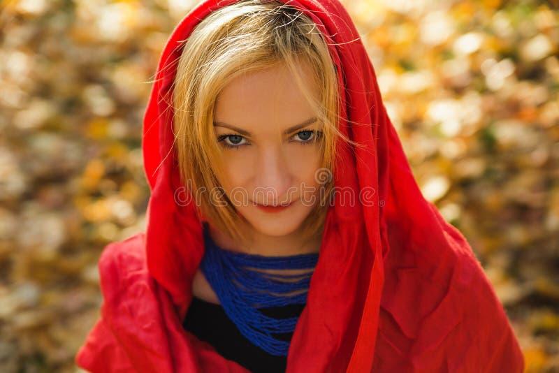 Mooie jonge elegante vrouw die ivoorsjaal op de herfstdag dragen royalty-vrije stock afbeelding