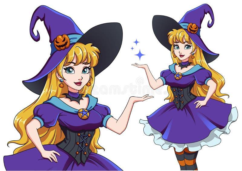 Mooie jonge heks Announce Halloween Party Hand-getekende cartoon stock illustratie