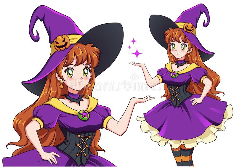 Mooie jonge heks Announce Halloween Party Met de hand getekende retro-animmeisje vector illustratie
