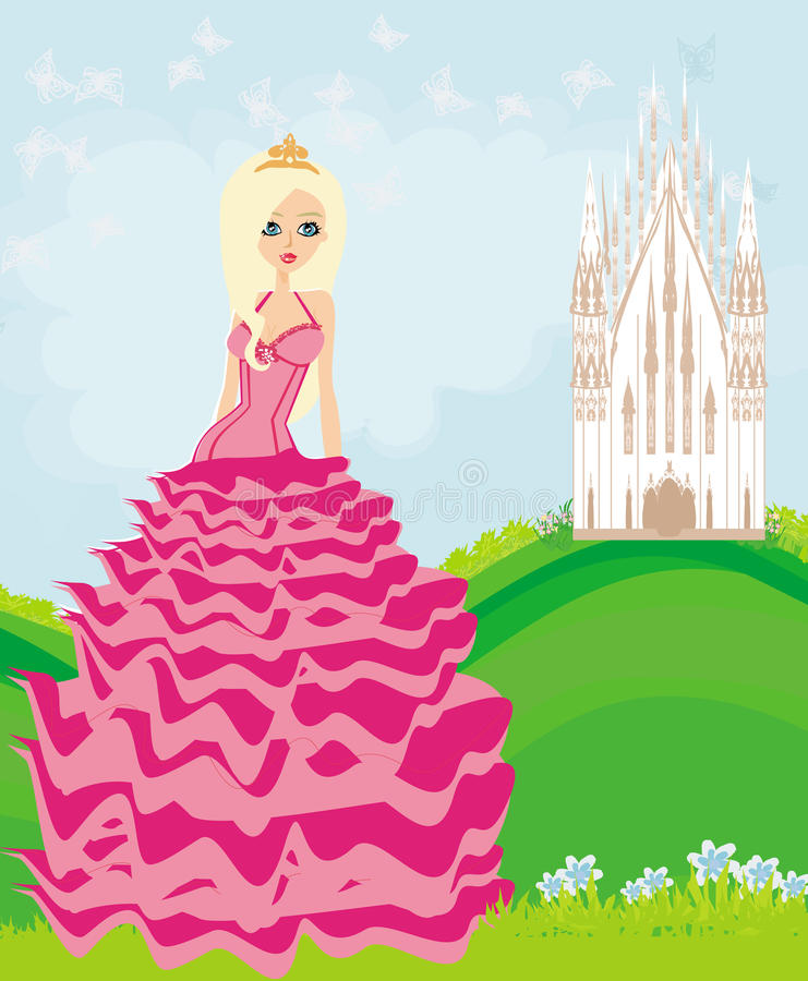Mooie jonge koningin voor haar kasteel vector illustratie