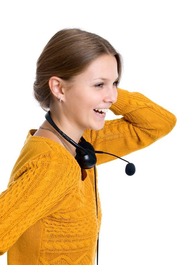 Mooie jonge lachende vrolijke vrouw stock afbeeldingen