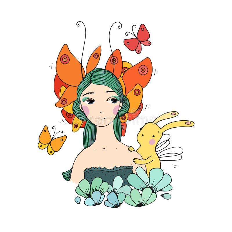 Mooie jonge meisje, vlinders en hazen vector illustratie