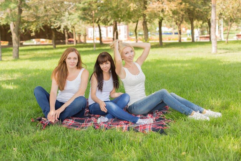 Mooie jonge meisjes stellende zitting op de plaid in het park stock foto's