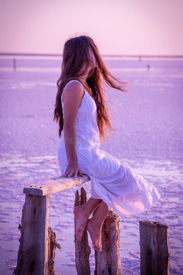 Mooie jonge meisjeszitting op de omheining op het zoute meer royalty-vrije stock afbeeldingen