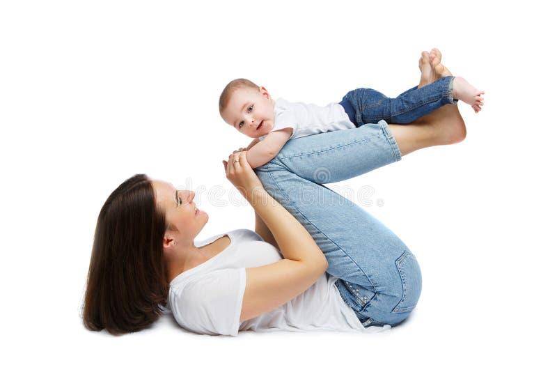 Mooie jonge moeder met de jongen van de peuterbaby royalty-vrije stock foto's