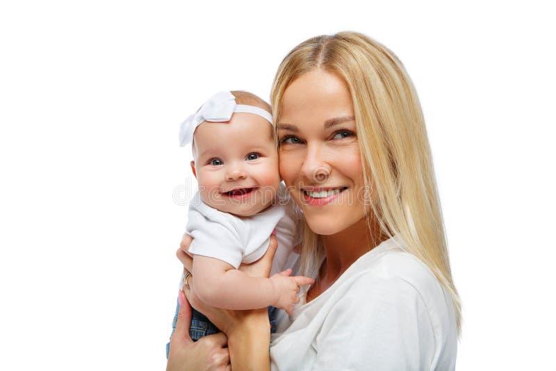 Mooie jonge moeder met het meisje van de peuterbaby royalty-vrije stock foto