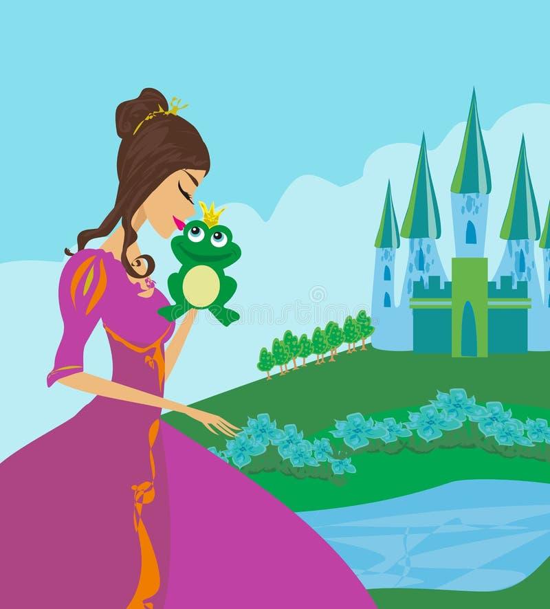 Mooie jonge prinses die een grote kikker kussen vector illustratie
