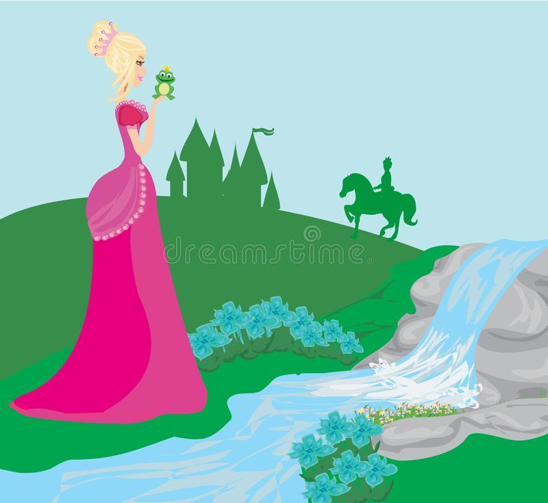 Mooie jonge prinses die een grote kikker kussen stock illustratie
