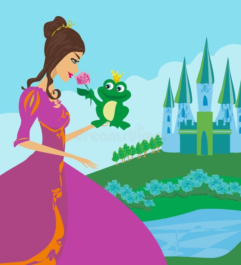 Mooie jonge prinses en grote kikker stock illustratie