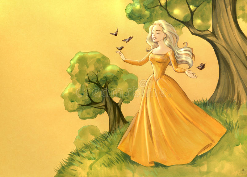Mooie jonge prinsessen stock illustratie