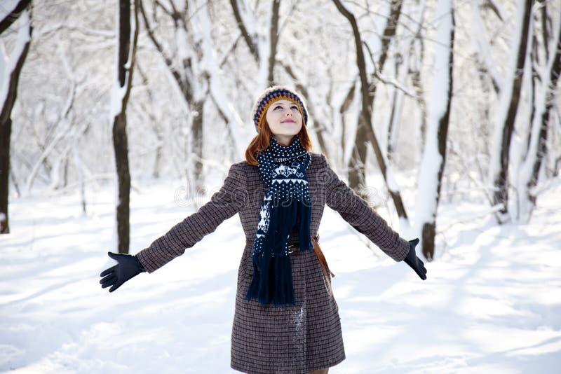 Mooie jonge roodharige vrouw in de winterpark royalty-vrije stock foto