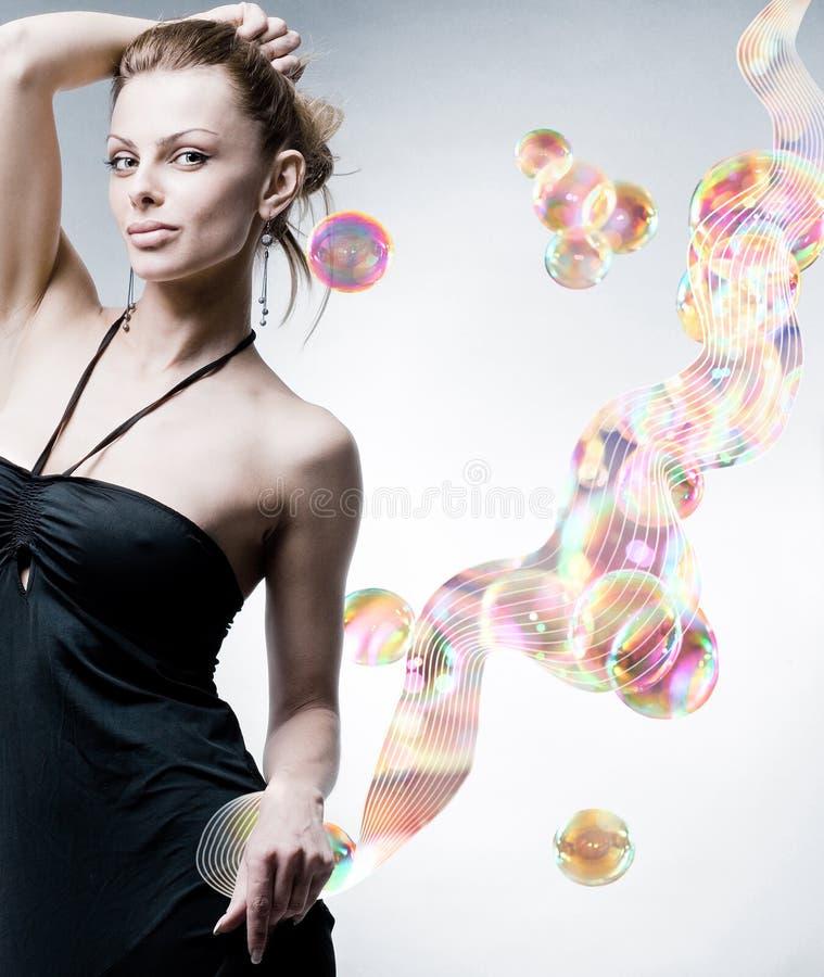 Mooie Jonge vrouw. abstractie. In studio. stock afbeelding