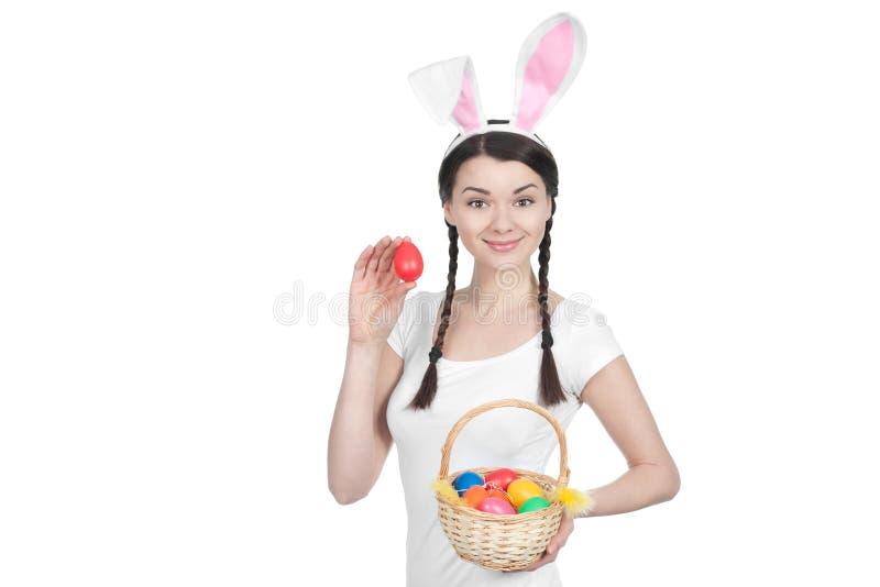 Mooie jonge vrouw als Pasen-konijntje royalty-vrije stock afbeeldingen