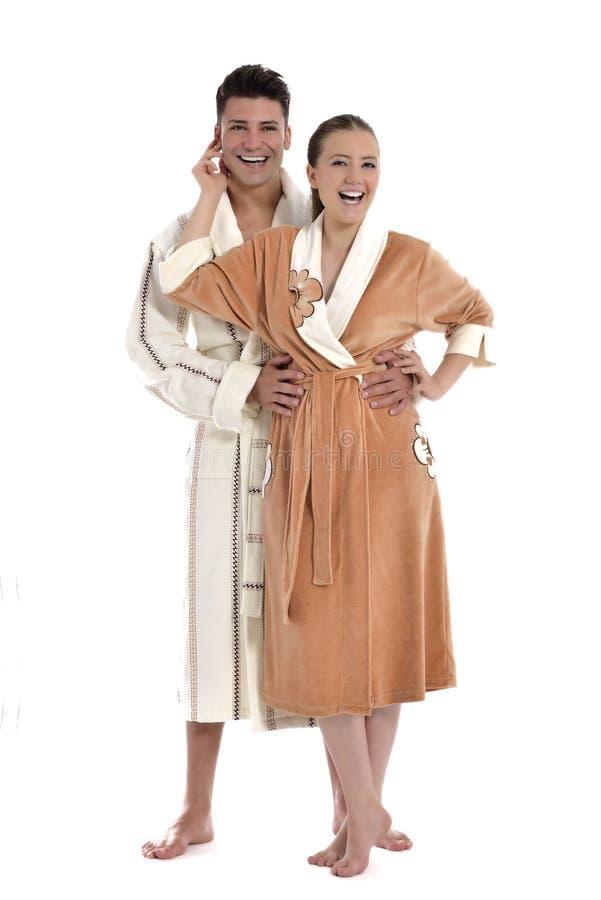 Mooie jonge vrouw in badjas royalty-vrije stock afbeelding