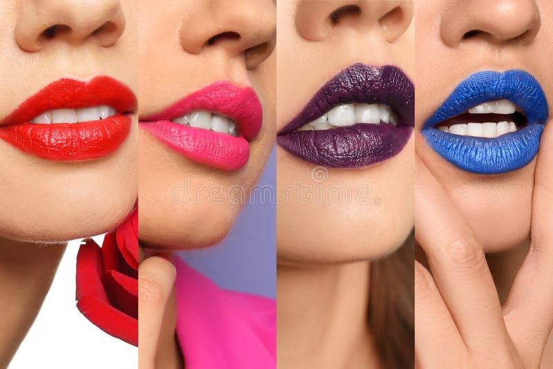 Mooie jonge vrouw die heldere rode lippenstift op donkere achtergrond, close-up toepassen stock foto's