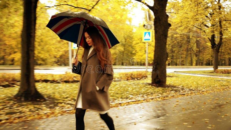 Mooie jonge vrouw die met paraplu langs de herfststeeg lopen op een regenachtige dag stock foto's
