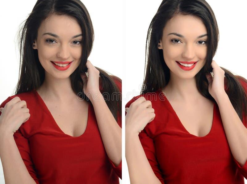 Mooie jonge vrouw die met sexy rode lippen before and after het retoucheren met photoshop glimlachen stock foto's