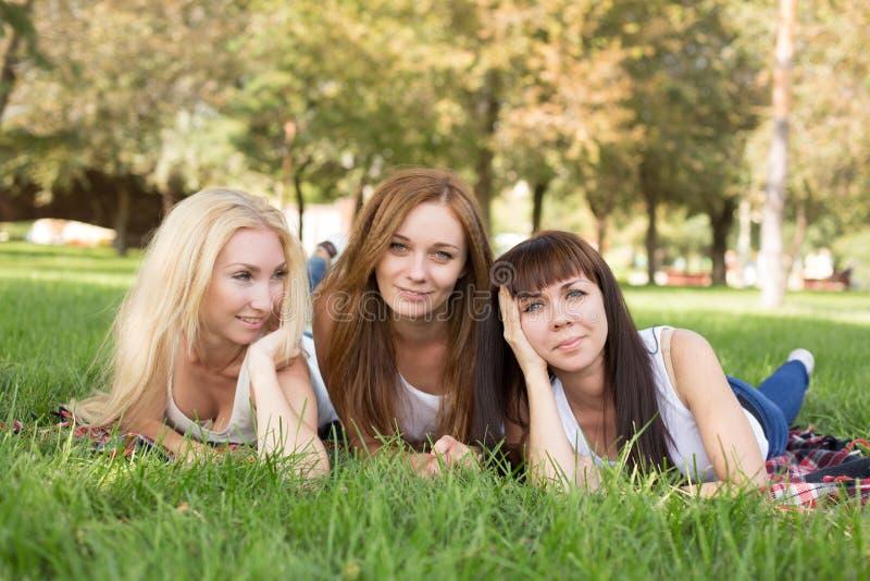 Mooie jonge vrouw die terwijl het liggen op de plaid in het park stellen royalty-vrije stock fotografie