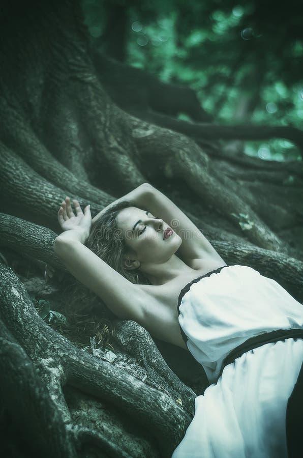 Mooie jonge vrouw in een lange witte kleding met lang golvend haar, royalty-vrije stock foto's