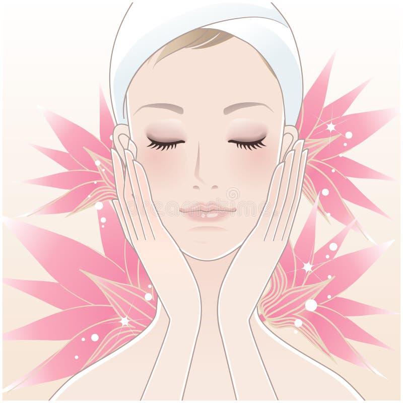 Mooie jonge vrouw en lotusbloem vector illustratie