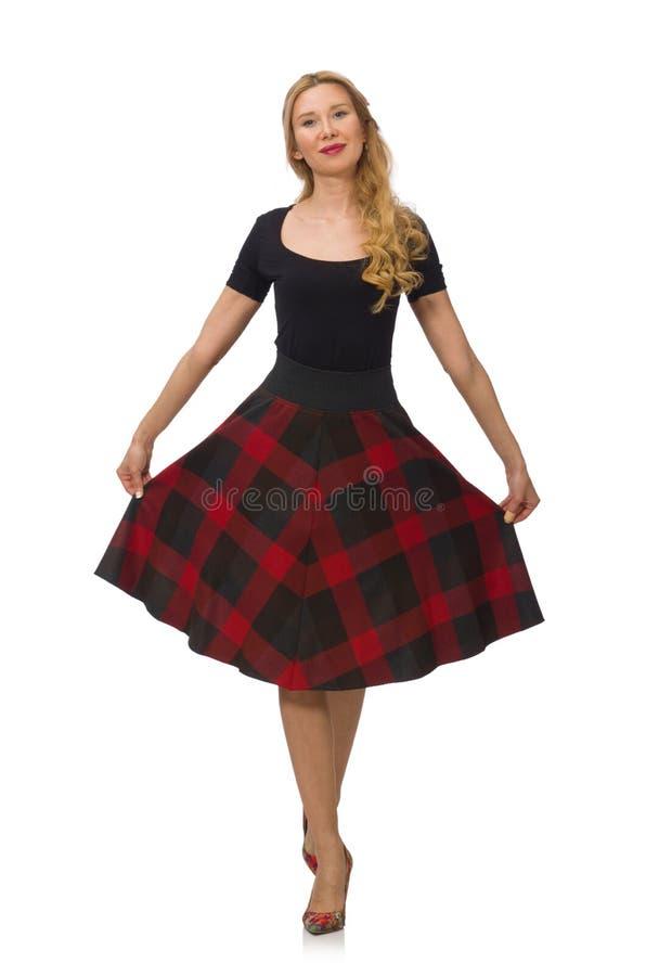 Mooie jonge vrouw in geïsoleerde plaidkleding royalty-vrije stock afbeelding