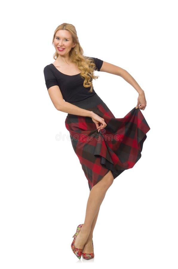 Mooie jonge vrouw in geïsoleerde plaidkleding stock afbeeldingen