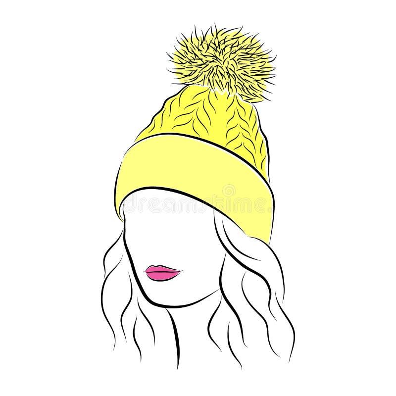Mooie jonge vrouw in gele gebreide hoed met pompom stock illustratie
