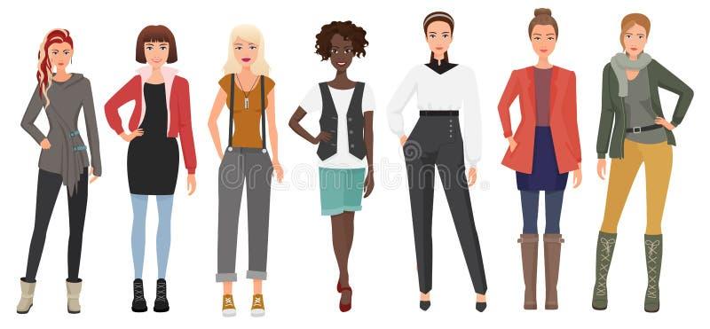 Mooie jonge vrouw in geplaatste manierkleren De damekarakters van beeldverhaalmeisjes Vector illustratie vector illustratie