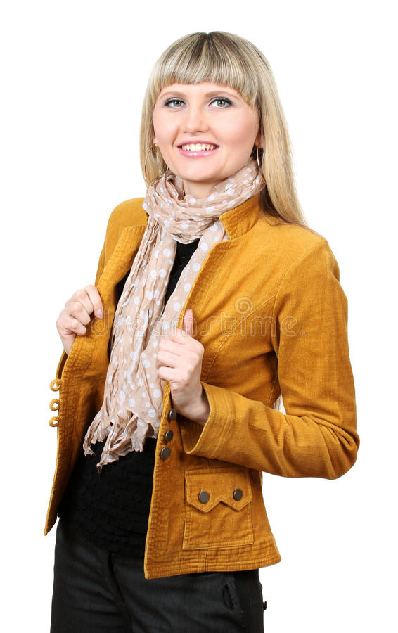 Mooie jonge vrouw in helder jasje stock foto's