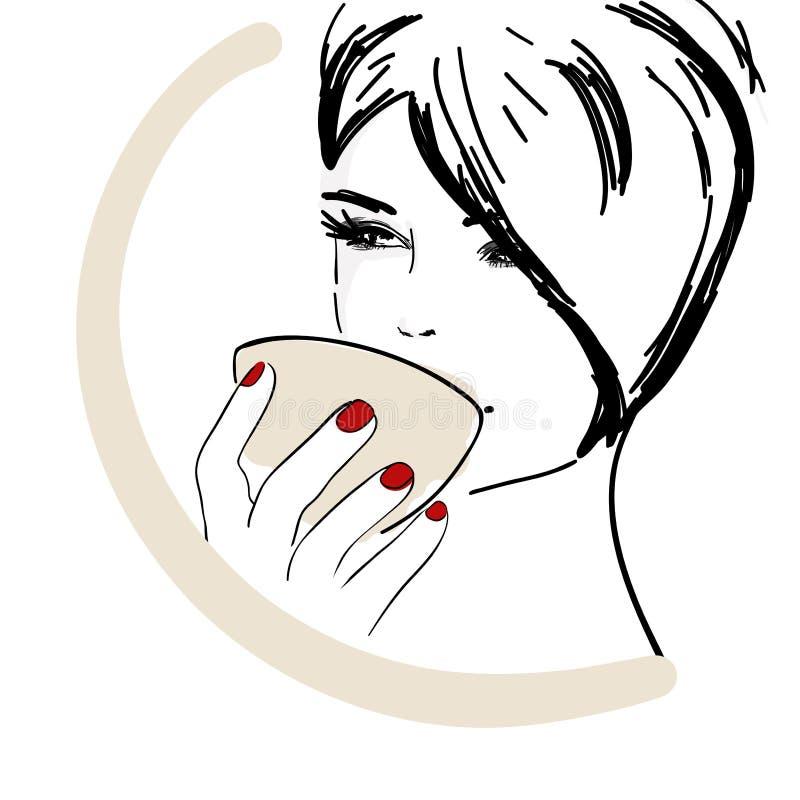 Mooie jonge vrouw het drinken koffie royalty-vrije illustratie