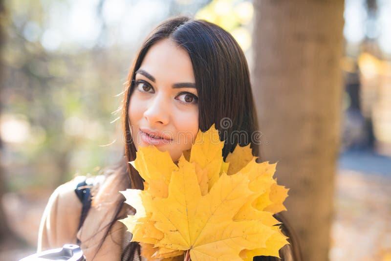 Mooie Jonge Vrouw met Autumn Leaves op de Achtergrond van de Dalingsaard stock fotografie
