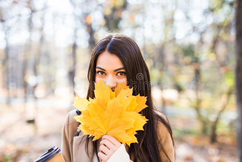 Mooie Jonge Vrouw met Autumn Leaves op de Achtergrond van de Dalingsaard stock afbeeldingen