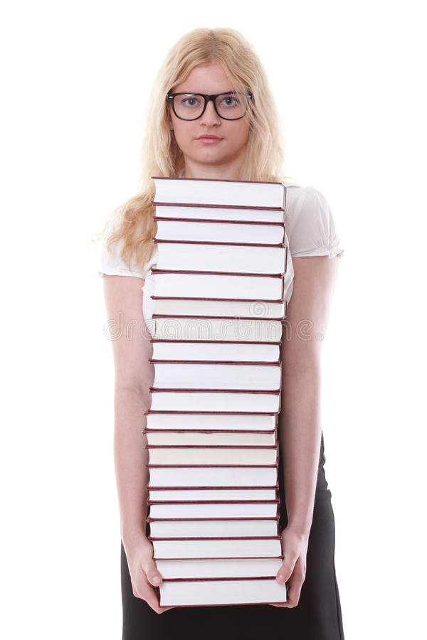 Mooie jonge vrouw met boeken witte achtergrond stock foto's