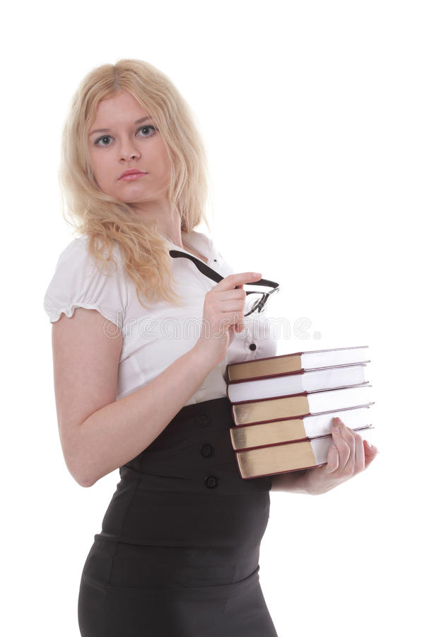 Mooie jonge vrouw met boeken witte achtergrond stock afbeeldingen