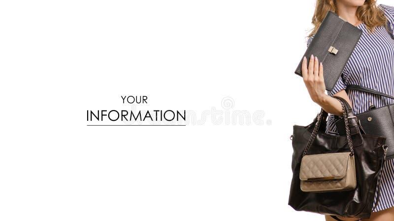 Mooie jonge vrouw met de schoonheidspatroon van de handtassenmanier stock foto