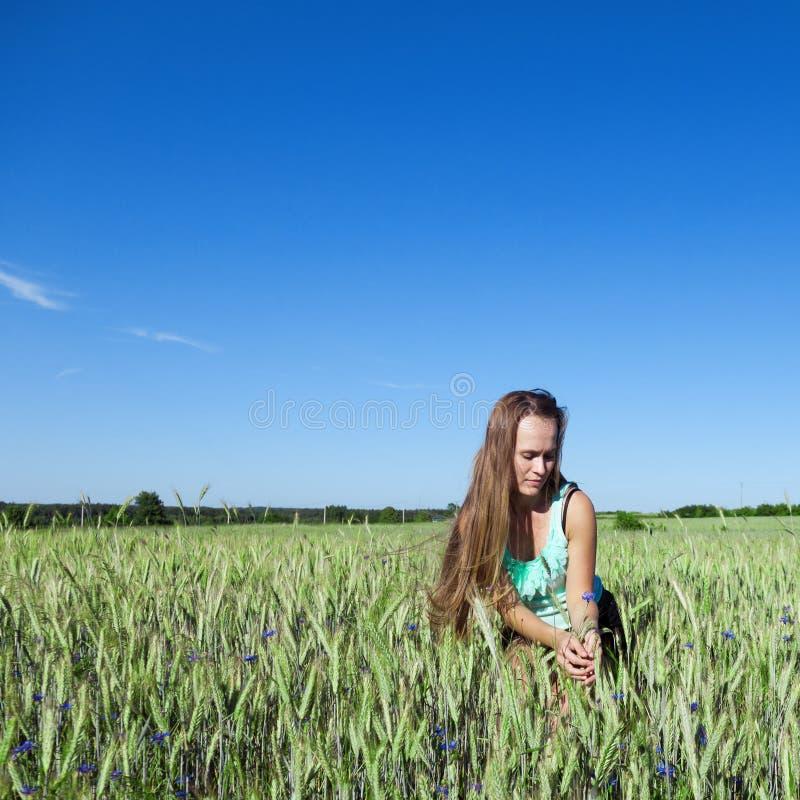 Mooie jonge vrouw met lang gezond bruin haar, die op een gebied van bloeiende korrel buigen stock foto